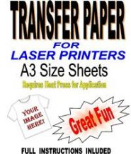 Laser & Copier T Shirt Transfer Paper For Light Fabrics 5 A3 Sheets